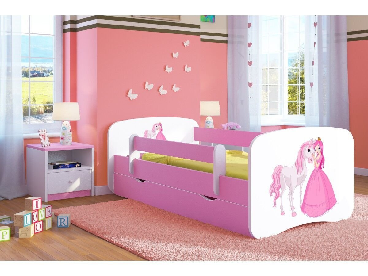 Pink Toddler Girl Bed Kids Bed Junior Children's Single Bed with Mattress and Storage Included - Baby Dreams (Medium (160x80), 5. Princess & Horse)  Wonderhome24