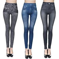 JFan Leggings da Donna Leggings Elasticizzati Casual Attillati a Vita Alta con Stampa in Denim