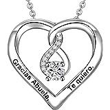 LOVORDS Collar Mujer Grabado Plata de Ley 925 Colgante Corazón Infinito Regalo Madre Mamá Esposa Novia Abuela