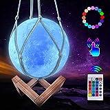 JBHOO Nuevo Lámpara de Luna 3D 16 Color LED Recargable Luz Luna, 15cm Lampara Luna con Soporte de Madera y red Colgante, Cont