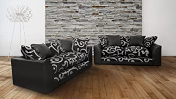 New Zina 3+2 Seater Fabric Sofa With Grey Swirls