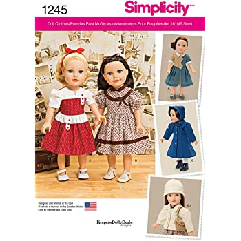Simplicity Größe OS Vintage Stil 18 Puppenkleider Schnittmuster ...
