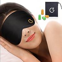 Gritin Schlafmaske, Augenmaske Nachtmaske Verstellbarem Gummiband 100% Hautfreundlich Seide Geruchneutral Schlafbrille mit Ohrstöpseln und Tragbare Tasche - Schwarz
