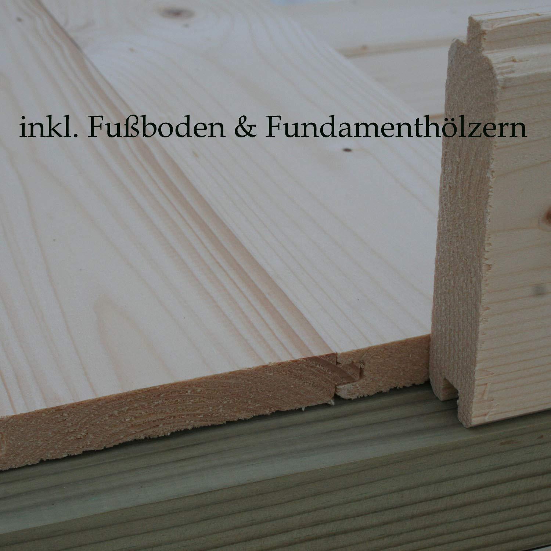 Alpholz Gartenhaus Brüssel-44 aus Massiv-Holz | Gerätehaus mit 44 mm Wandstärke | Garten Holzhaus inklusive Montagematerial | Geräteschuppen Größe: 470 x 320 cm | Satteldach