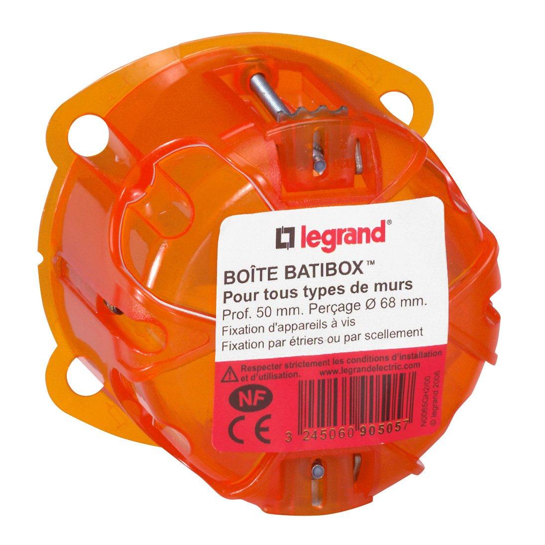 Legrand LEG90505 - Scatola da incasso Batibox 1 posto, per vari materiali, profondità 50 mm