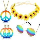 4 Pezzi Hippie Costume Set Include Arcobaleno Pace Segno Collana Orecchino Girasole Cerchietto e Rotondo Hippie Occhiali da S