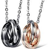 JewelryWe Gioielli Collana con Pendente da Uomo Donna Stupendo Nero & Rose Oro Acciaio Inox Tre Anelli Ciondolo per Coppia Ca