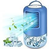 BILIFIT Mini Climatiseur Portable, 4 en 1 Refroidisseur d'air, Ventilateur, Humidificateur, 3 Vitesses, 2/4h Timer, 7 LED Cou