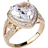 Gold Plated Heart Shaped Clear Cubic Zircon Crystal Wedding Engagement Ring Fashion Jewelry for Women