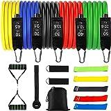 Tumax Weerstandsbanden, Training Fitnessbanden met Handvat, 18 Stuks Trainingsbanden Stapelbaar tot 150lb, Indoor/Outdoor Tra