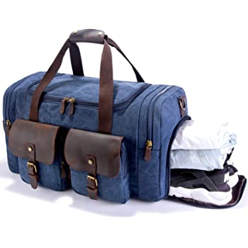 SUVOM Canvas Holdall Weekend Bag Overnight Bag Leather Travel Duffle Bag  Carry On Luggage (Blue) a1e83ae408