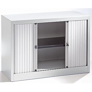Bisley Armoire à rideaux - horizontal, gris clair proche RAL 7035 ...