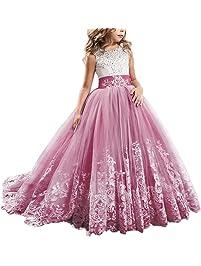 c01a2143fb33 IWEMEK Princesa Appliques de Encaje Tul Vestido de Niña de Flores Boda  Vestidos de Dama De