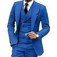 YSMO Männer Slim Fit Anzüge Weste Business Tuxedo Dreiteilige Jacke Hosen Weste Set