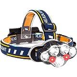 BETECK Linterna Frontal LED USB Recargable Alta Potencia 15000LM, Lámpara de Cabeza 7 LED 8 Modos IPX4 Impermeable para Campi