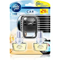 Ambi Pur 82209470 Vanilla Bouquet Car Air Freshener Starter Kit with 2 Refills (7.5 ml)