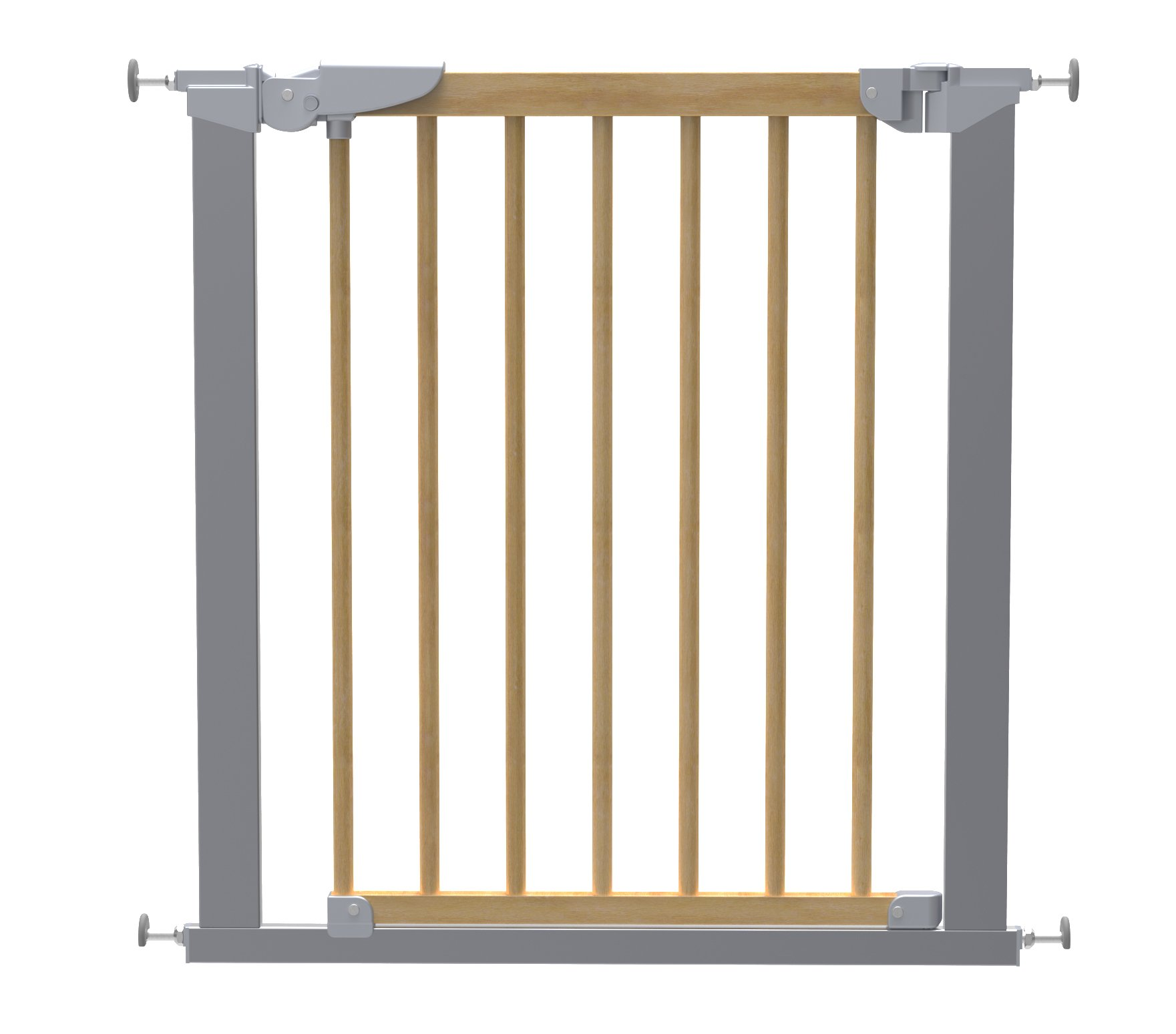 BabyDan Avantgarde True Pressure Fit Safety Gate (Beech/Silver)  Fits openings from 71.3 to 77.6 cm wide; 73 cm in height Can be extended up to 117.1 cm with additional extensions (sold separately) Pressure technology means the gate can be fitted without wall cups 1