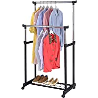 Whixant Adjustable Double-Pole Clothes Drying Stand Rail Hanger/Rack and Laundry Drying Stand with Wheels for Indoor and…