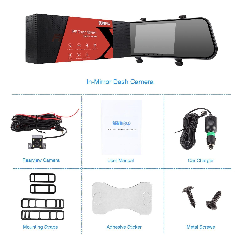Visi/ón Nocturna Sendowtek Espejo Retrovisor con Camara Android 7 IPS Pantalla T/áctil Dashcam con G-Sensor Grabaci/ón De Bucle Aparcamiento Monitor Camara Retrovisor Coche 170/° Granangular
