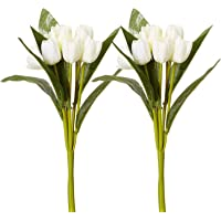 Fourwalls Beautiful Artificial Polyester and Plastic Tulip Flower Bunch (9 Head Flower, 38 cm Total Height, White, Set of 2)
