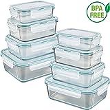 GOURMETmaxx 02847 Glas-Frischhaltedosen | 8er Set klick-It Dosen mit Deckel | Silikon Dichtungsring | Glasbehälter mit Deckel | Smaragdgrün (8 Dosen & 8 Deckel)