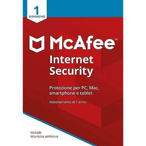McAfee Internet Security 1 Dispositivo  Abbonamento di 1 anno   PC/Mac/Smartphone/Tablet   Codice di attivazione via posta