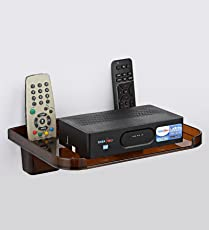 Gadget-Wagon Set-Top Box with Wall Mountable Hangable with Holes for Passing Cables(Golden Brown-Sepia)