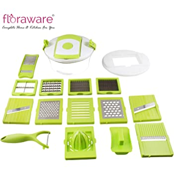 Floraware Plastic Fruit and Vegetable Cutter Set, 15-Pieces, Green (B-PLM-LOCKCUT-15in1)