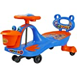 BabyGo Baby Hoopa Swing Magic Car Ride On for Kids with Music Light and Back Support (Orange and Blue)