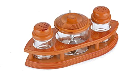 Salt & Pepper Stand with One Jar for Pickle - Stylish Boat Design