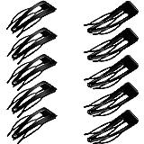 24 Pieces Double Grip Hair Clips Metal Snap Hair Clips Hair Barrettes for Hair Making, Salon Supplies (Black)