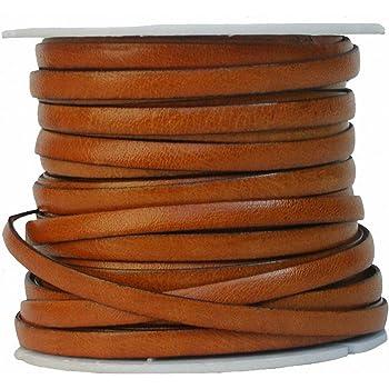 10 Meter Antik Braun esnado Lederband Flach 10 mm x 2,5 mm