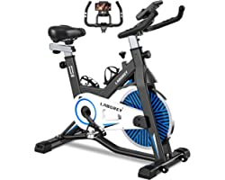 LABGREY Spinning Bike Exercise Bike Indoor Cycling Bike Stationary Bike with LCD Monitor and Heart Rate Sensor for Home Cardi