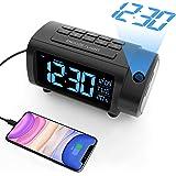 Radio Despertador Proyector, Liorque Reloj Despertador Digital con Gran VA Pantalla, Radio Reloj FM, C°/F°, 12/24 H, DST, 4 N