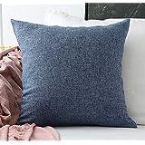 Khooti Jute Cushion Cover, 20x20 Inch (Navy Blue)(Pack of 2)