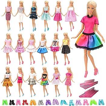 Miunana Vestiti Abiti Ed Accessori per Barbie Dolls Bambola (20 Vestiti +  40 Accessori) 23003a9f822