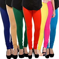Klugger Cotton Lycra 160 GSM   4 Way Stretchable   Multicolour Leggings for Women's Combo (Pack-7) Free Size-_Free Size