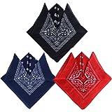 QUMAO (100% Baumwolle 3stk, 4stk, 6 stk, 12 Stk Paisley Bandana Halstuch 55 x 55 cm Kopftuch Armtuch Mischfarben Haar, Hals, Kopf Schal Nickituch Vierecktuch