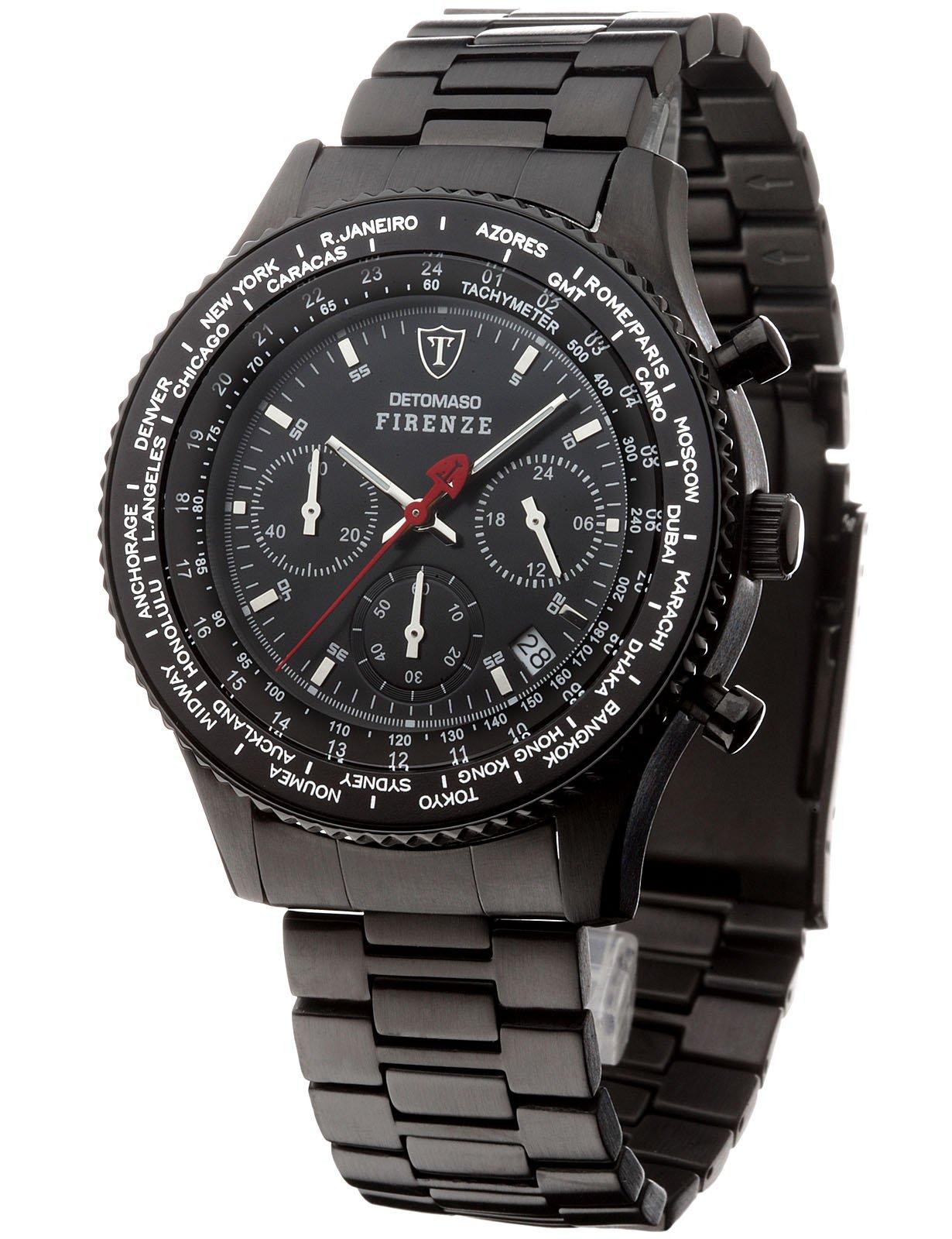 Reloj de cuarzo Detomazo Firense para caballero, dial beige con pantalla de cronógrafo, pulsera de cuero en color marrón SL1624C-BG