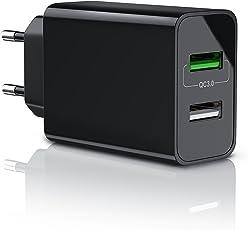 CSL - USB Ladegerät 30W QC 3.0 | 2 Port Netzteil inkl. Quick-Charging ( Schnellladefunktion ) | Smart Charge + Solid Charge (intelligentes Laden) | geeignet für Handys, Smartphones, Navis, Tablets uvm. | schwarz