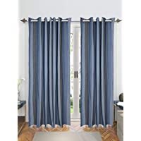 Saral Home Blue Joy Stripes Pattern Cotton Yarn Eyelet Door Curtains - (Set of 2, 4x7 Feet)