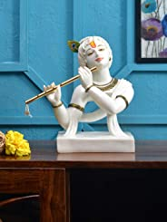 @home by Nilkamal Abstract Krishna with Flute Showpiece, White