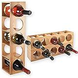 Gräfenstayn® 30543 casier à vin CUBE - empilable en bois de bambou pour 5 bouteilles de vin pour placer, placement ou pour mo