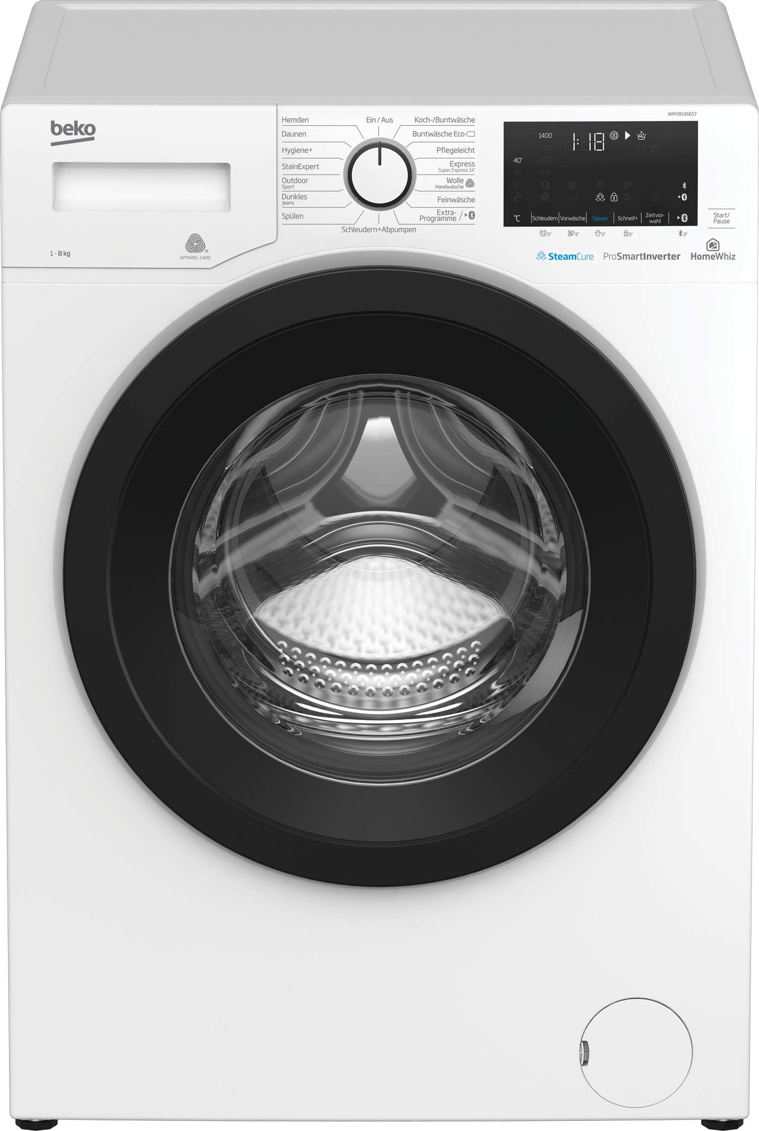 Beko WMY81466ST Waschmaschine mit Bluetooth, 8 kg Füllmenge, ProSmart Inverter Motor