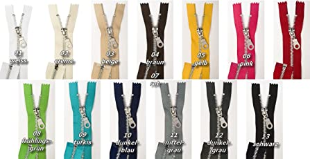 Jajasio Reißverschlüsse Metall, Aluminum, 2 Stück, Reißverschluss Metall TEILBAR in 13 Farben