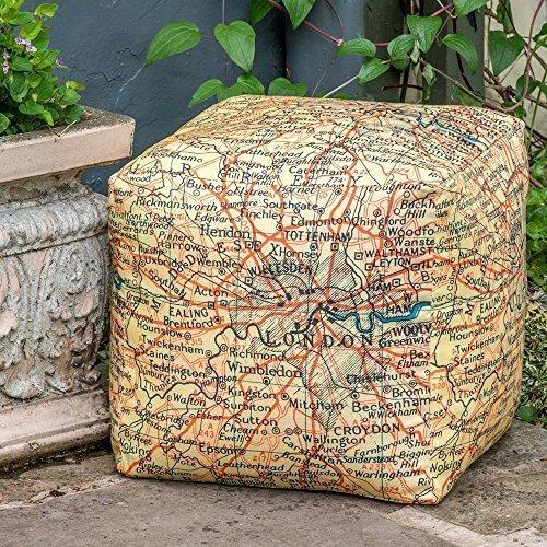 """Designer Wasserdicht Garten Outdoor Sitzwürfel/Sitzhocker-Vintage Map of London, """"Vintage Weltkarte"""" Kollektion-Entworfen, bedruckt & Handarbeit in der UK"""