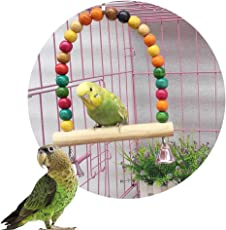 Pets Empire Wooden Colorful Beads Bell Bird Swing Toys