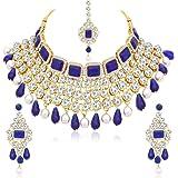 Sukkhi Incredible Pearl Gold Plated Wedding Jewellery Kundan Choker Necklace Set For Women (N79607)