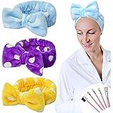 YMHPRIDE Spa-hoofdband - 3-delige strikhoofdband voor meisjes Dames Mooie zachte Carol elastische hoofdband met make-upborste