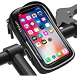LEMEGO Bike Handlebar Phone Holder Pouch Bag, Universal Bicycle Rear Pouch with Water Resistant Frame Transparent Touchable P